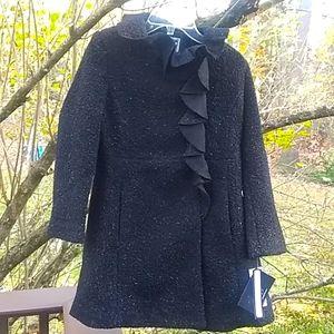 Rothschild Black Sparkle Kids Ruffle Coat